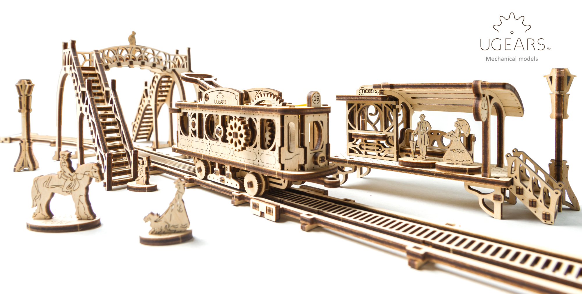 Tram Line Model叮叮車車站(Ugears 機械小鎮Mechanical Town Series)