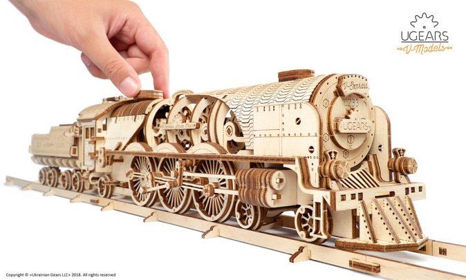 Ugears V-Express Steam Train with Tender Model Kit